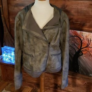 Maurices distressed bomber/motto pleather jacket